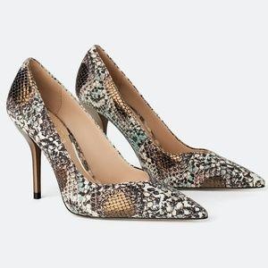 NEW Zara Animal Print Leather High Heeled Shoes 6